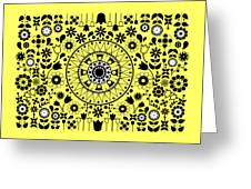 Tapiz Flores Black And White Greeting Card