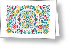Flores Y Aves Greeting Card