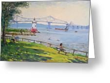 Tappan Zee Bridge And Light House Greeting Card