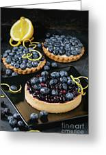 Tart With Blueberries Greeting Card