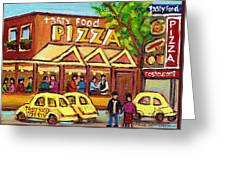 Tasty Food Pizza On Decarie Blvd Greeting Card