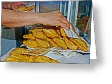 Tasty Hot Empanadas For Lunch In Angelmo Fish Market In Puerto Montt-chile Greeting Card
