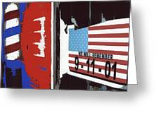 Tattered 9-11 Poster Barbershop Eloy Arizona Xmas 2004-2008 Greeting Card