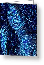 Tatto Lady With The Blues Greeting Card