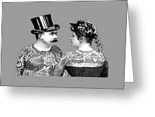 Tattooed Victorian Lovers Greeting Card