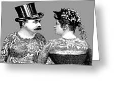 Tattooed Victorian Lovers Greeting Card