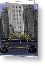 Taxi Greeting Card by Russell Pierce