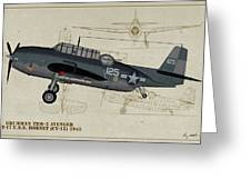 Tbm-3 Avenger Profile Art Greeting Card