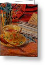 Tea And Diary Greeting Card