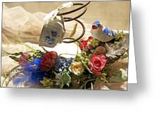 Tea Cup Bed Coil Floral Greeting Card