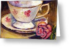 Tea Cup With Rose Still Life Grace Venditti Montreal Art Greeting Card