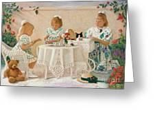 Tea In The Rose Garden Greeting Card