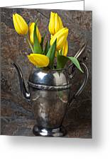 Tea Pot And Tulips Greeting Card