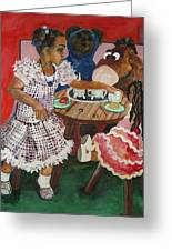 Tea Time Greeting Card by Amira Najah Whitfield