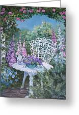 Tea Time In The Garden Greeting Card