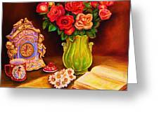 Teacup And Roses Greeting Card