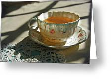 Teacup On Lace Greeting Card