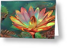 Teal And Peach Waterlilies Greeting Card