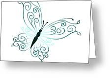 Teal Butterfly Greeting Card