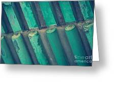 Teal Chinese Ceiling Greeting Card