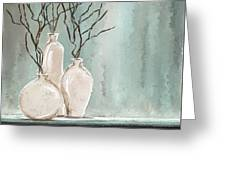 Teal Elegance - Teal And Gray Art Greeting Card