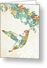 Floral Hummingbird Art Greeting Card