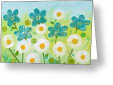 Teal Flowers And Daisies Greeting Card