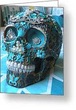 Teal Gem Art Skull Greeting Card