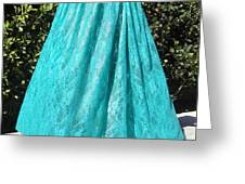Teal Green Lace Skirt. Ameynra By Sofia Greeting Card