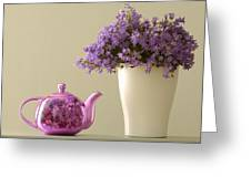 Teapot And Flowers In A Vase Greeting Card
