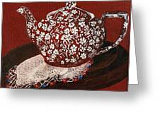 Teapot Calico Red Greeting Card