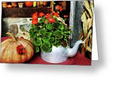 Teapot Filled With Geraniums Greeting Card