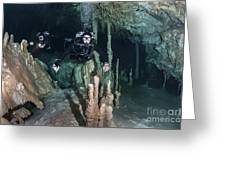 Technical Divers In Dreamgate Cave Greeting Card