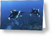 Technical Divers With Equipment Greeting Card