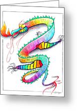 Technicolor Dragon -- Rainbow-colored Whimsical Dragon  Greeting Card