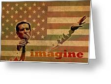 Ted Cruz For President Imagine Speech 2016 Usa Watercolor Portrait On Distressed American Flag Greeting Card