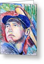 Ted Williams Boston Redsox  Greeting Card by Jon Baldwin  Art
