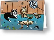 Cats Having Fun Playing With Spiders Greeting Card