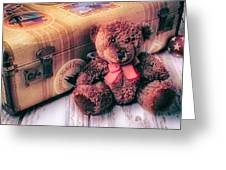 Teddy Bear And Suitcase Greeting Card