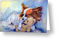 Teddy Hugs - Papillon Dog Greeting Card
