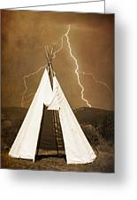 Tee Pee Lightning Greeting Card