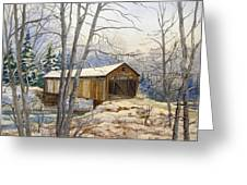 Teegarden Covered Bridge In Winter Greeting Card