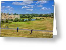 Teeing Off At Leeds Castle Greeting Card