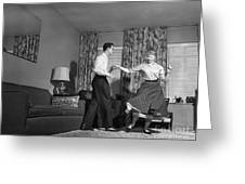 Teen Couple Dancing At Home, C.1950s Greeting Card