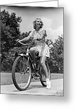 Teeng Girl Riding Bike On Sidewalk Greeting Card
