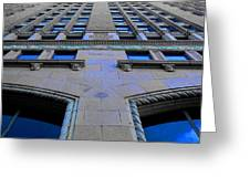 Telephone Building With Indigo Reflections Greeting Card