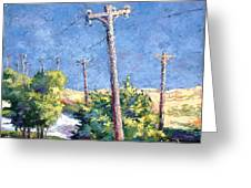 Telephone Poles Before The Rain Greeting Card