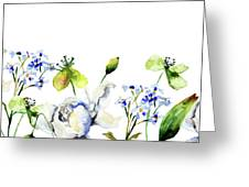 Template For Card With Decorative Wild Flowers Greeting Card