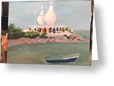 Temple In Sea Greeting Card