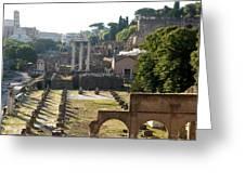 Temple Of Vesta. Arch Of Titus. Temple Of Castor And Pollux. Forum Romanum. Roman Forum. Rome Greeting Card by Bernard Jaubert